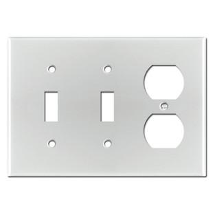 3-Gang 2-Toggle 1-Duplex Switch Plate - Brushed Aluminum