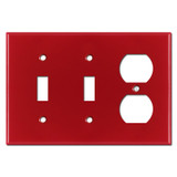 Double Toggle Outlet Switch Plate - Red