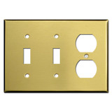 Double Toggle / Single Duplex Outlet Switch Plates - Satin Brass