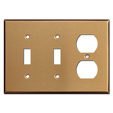 One Outlet Two Toggle Switch Plates - Satin Bronze