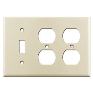 1 Toggle 2 Duplex Outlet Switch Plates - Ivory