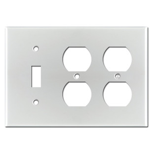 2 Duplex 1 Toggle Switch Plate Covers - Brushed Aluminum