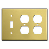 Single Toggle Double Outlet Wall Plate - Satin Brass