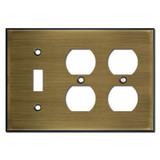 Double Duplex Single Toggle Switchplate - Antique Brass
