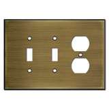 Oversized 1 Receptacle 2 Toggle Cover Plates - Antique Brass
