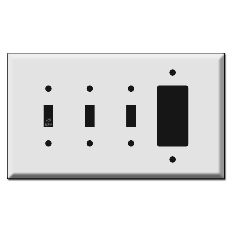 Jumbo Triple Toggle And Rocker Combination Wall Switch Plate Covers