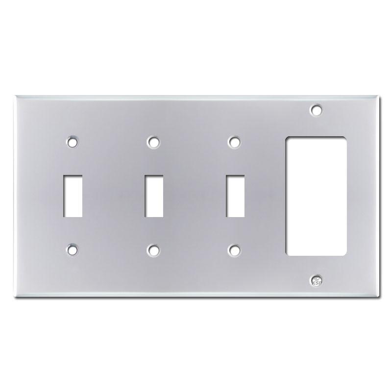 4 gang 3 toggle 1 rocker switch plate polished chrome