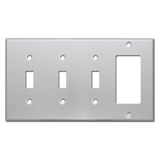 Wall Plate 3 Toggle 1 Rocker - Brushed Aluminum