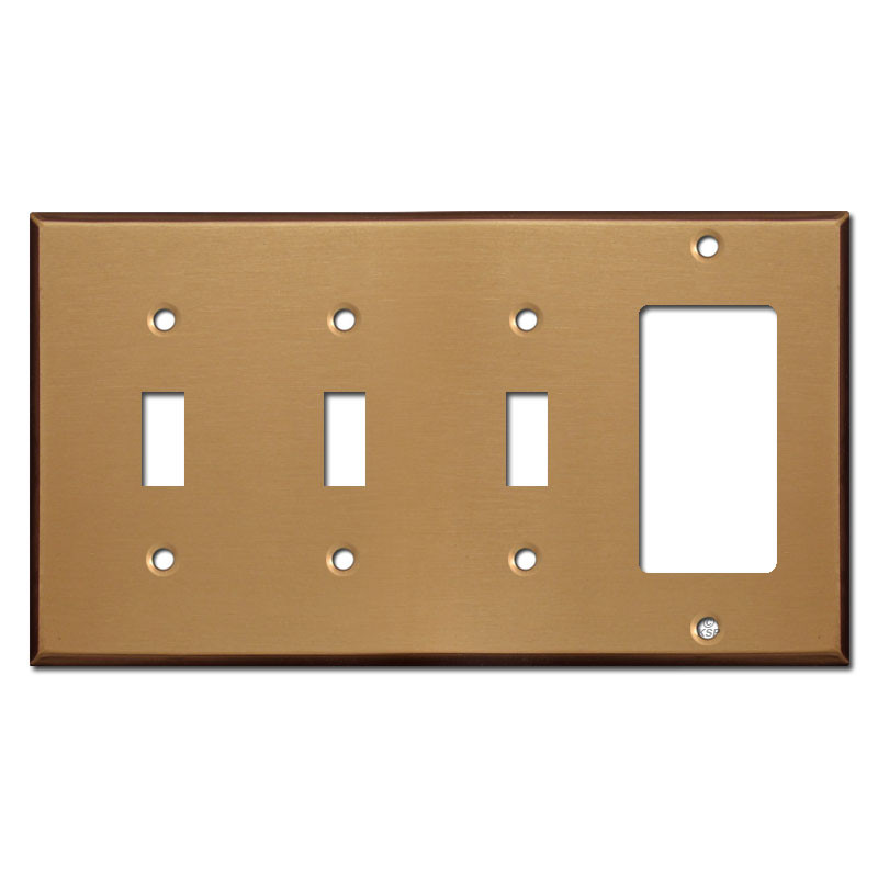 Three Toggle One Rocker Switch Plate Covers Satin Bronze