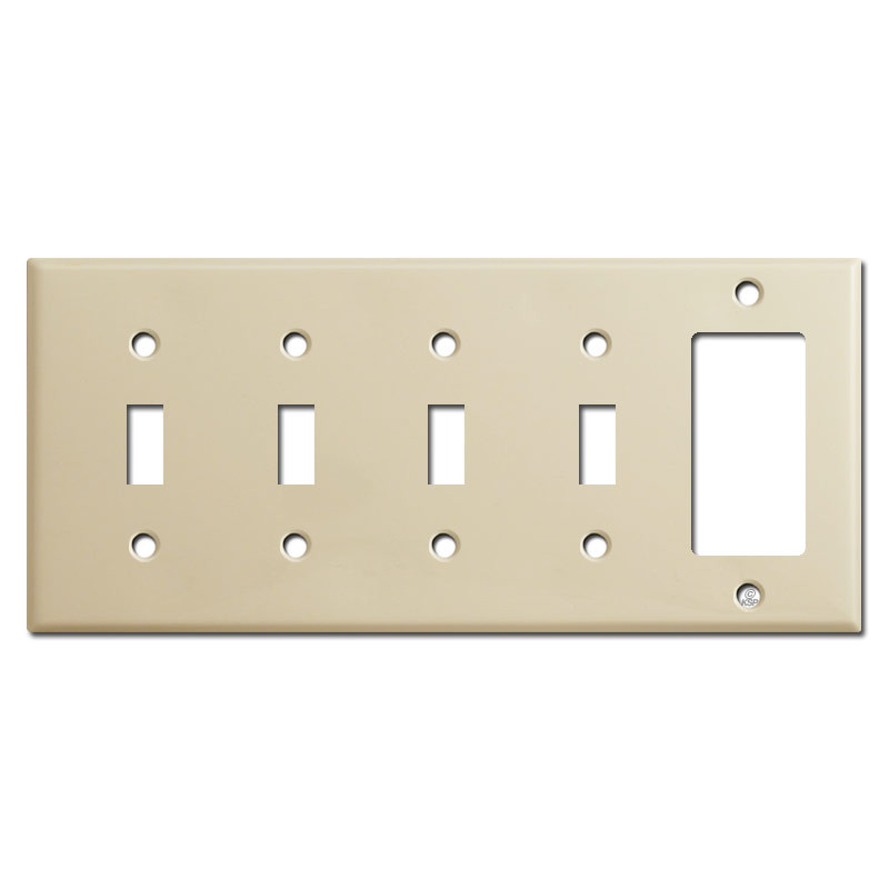 4 Switch Plate Amazing 5Gang 4Toggle 1Decora Switch Plate  Ivory  Kyle Switch Plates Decorating Inspiration