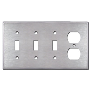 Triple Toggle 1 Outlet Switch Plate - Spec Grade Stainless Steel