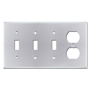 Single Outlet Triple Toggle Wall Plates - Polished Chrome