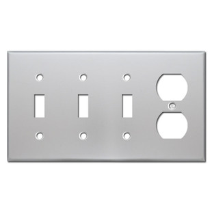 1 Outlet 3 Toggle Wall Plate Covers - Brushed Aluminum