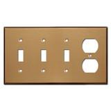 One Duplex Three Toggle Wall Plates - Satin Bronze