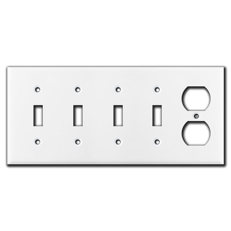 4 Toggle And 1 Duplex Outlet Switch Cover Plates White