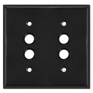 Two Gang Push Button Switch Plates - Black