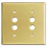 Double Push Button Light Switch Plates - Polished Brass