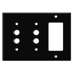 Double Push Button Single Decora Switch Plates - Black