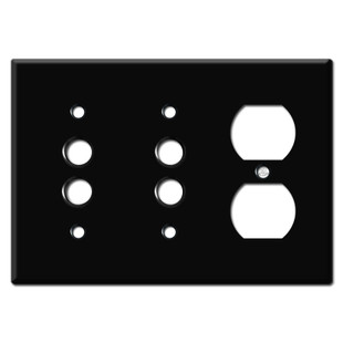 Single Outlet Double Push Button Switch Plate Covers - Black