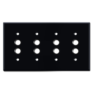 Quadruple Push Button Cover Plates - Black