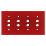 Four Gang Push Button Switch Plates - Red