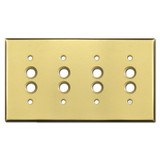 Quadruple Pushbutton Wall Cover Plates - Satin Brass