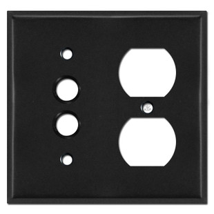 Single Pushbutton Single Outlet Wall Cover Plates - Black