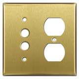 Single Duplex Receptacle Single Pushbutton Cover Plates - Satin Brass