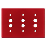 3 Push Button Switch Wall Plates - Red