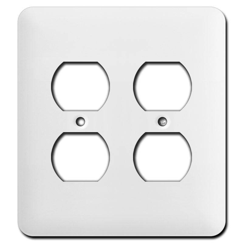 Long Double Duplex Receptacle Cover Plates White