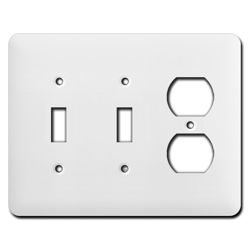 Long Double Toggle Single Duplex Receptacle Switch Covers White