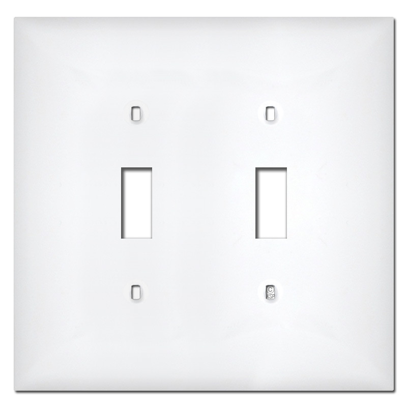 Plastic Light Covers >> Midway 2 Gang Toggle Plastic Light Switch Covers White