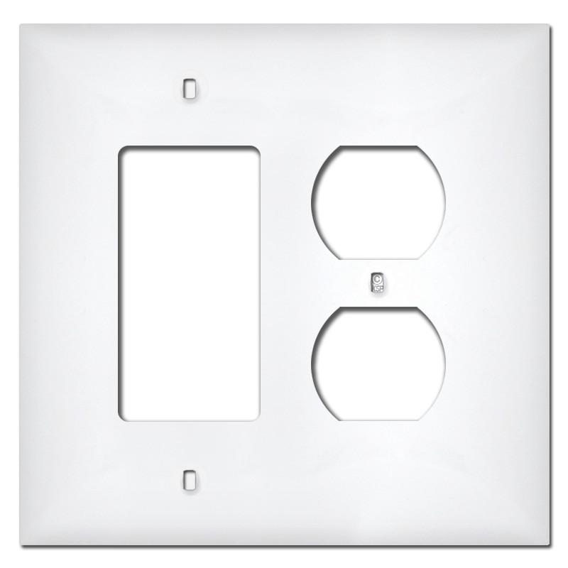Midway 1 Rocker 1 Duplex Receptacle Plastic Cover Plates White