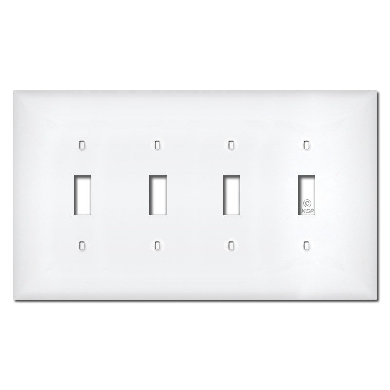 midway 4 gang toggle plastic light switch plates white