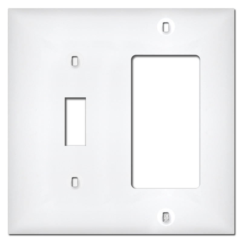 White Plastic 1 Toggle 1 Rocker Switch Plate Covers