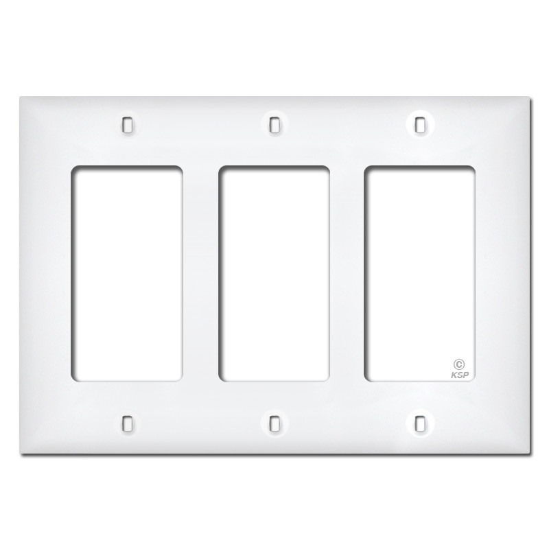 White Plastic 3 Gang Decora Switch Plate Covers  sc 1 st  Kyle Switch Plates & Plastic 3 Gang Decora Switch Plate Covers