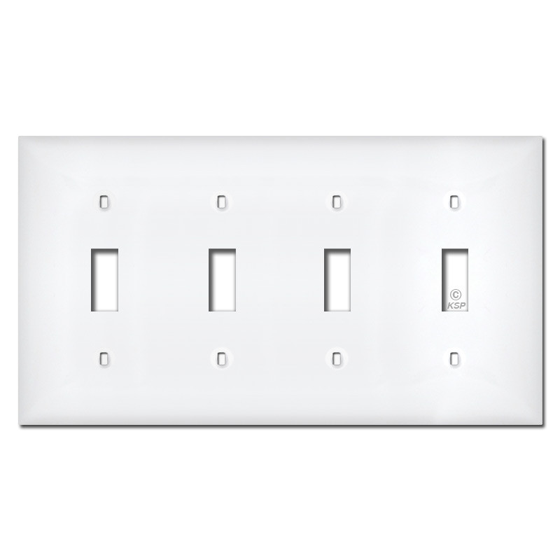 2 Gang Toggle Switch Cover Electric Wall Plate White Plastic Classic Unbreakable