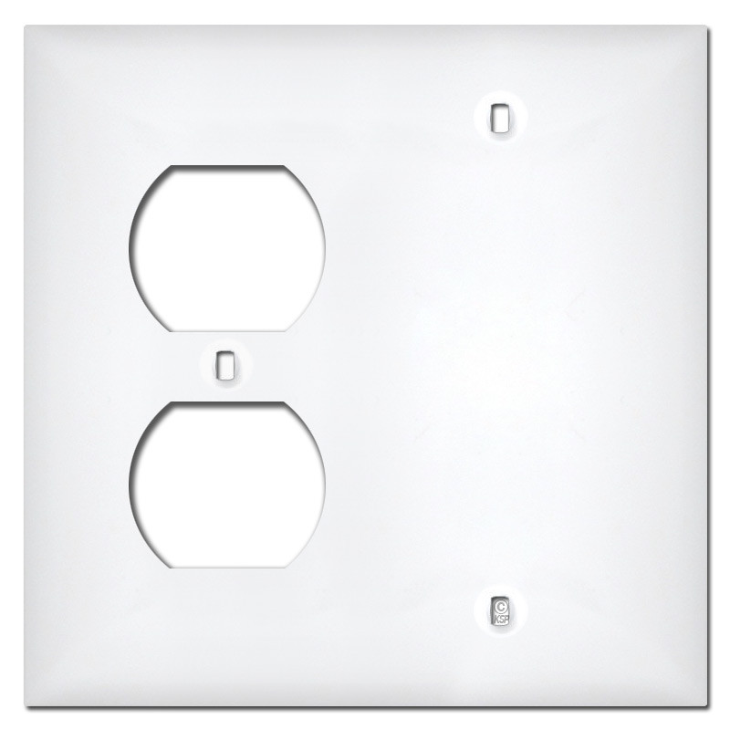White Plastic 1 Outlet 1 Blank Wall Cover Plates