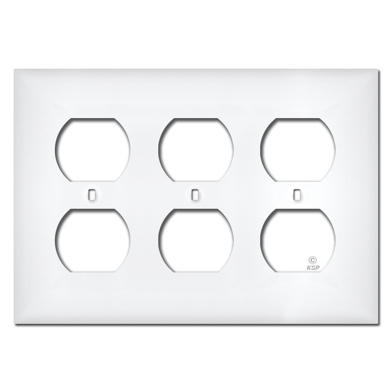 White Plastic 3 Gang Outlet Cover Plates Kyle Switch Plates
