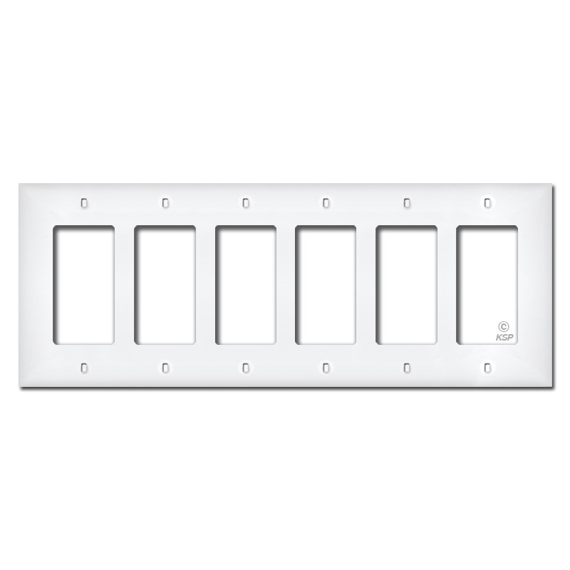 white plastic 6 gang rocker switch plates