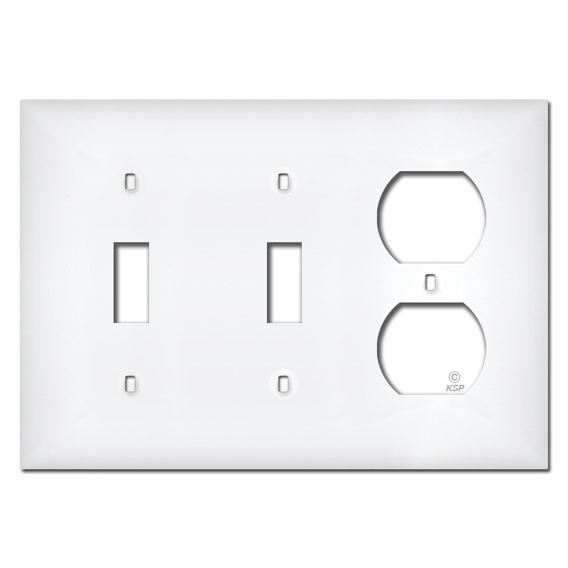 white plastic 2 toggle 1 outlet wall plate