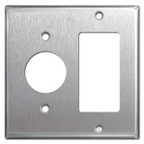 "1 Rocker 1.4"" Single Outlet Cover Switch Plate - 430 Stainless Steel"