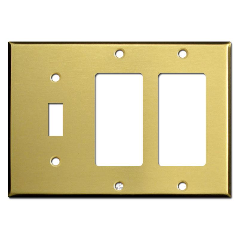 1 Toggle 2 Gfci Rocker Light Switch Cover Satin Brass