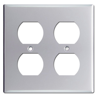 Two Duplex Outlet Cover Plate - Polished Chrome