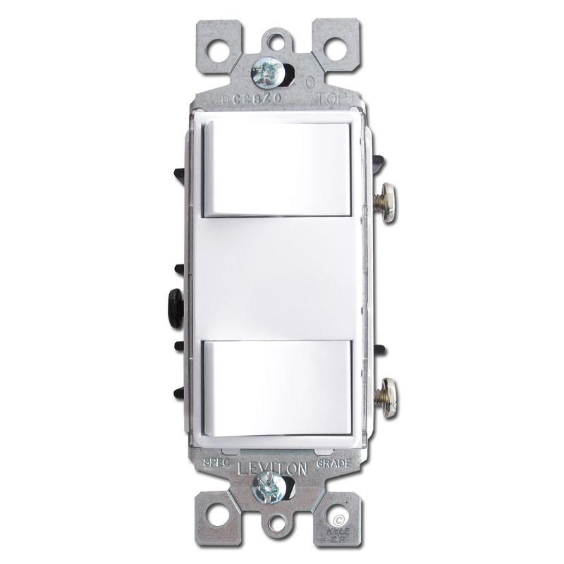 White Dual Decora Rocker Switches Leviton 1754-2W