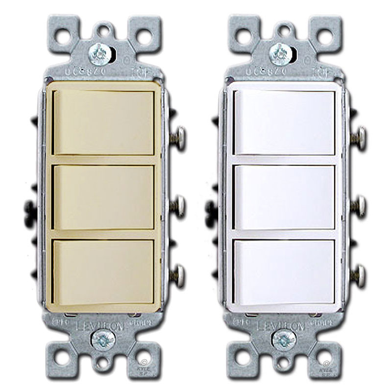 3 stacked single pole decora rocker switches leviton 1755Double Single Pole Stack Toggle Light Switch Ivory #18
