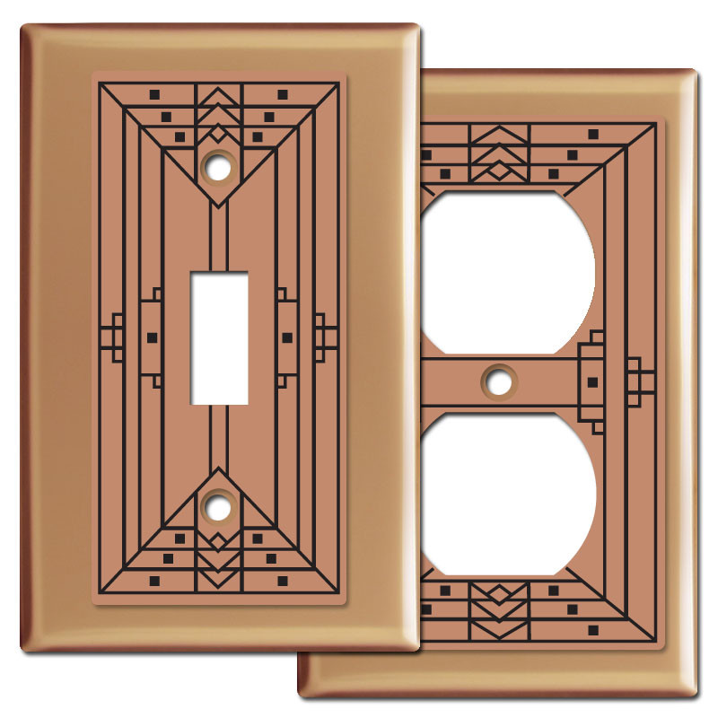 Decorative Craftsman Design Copper Switch Plates  sc 1 st  Kyle Switch Plates & Craftsman Light Switch Plate Covers in Copper - Kyle Design