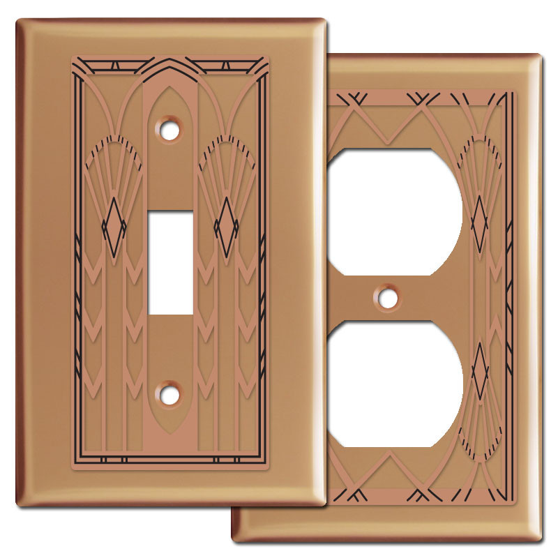 Art Deco Switchplates In Copper Kyle Design
