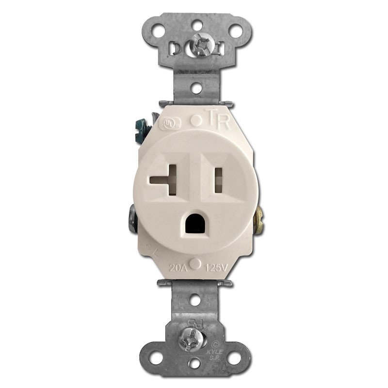 Tamper Resistant Light Almond Round 20A Single Power Receptacle