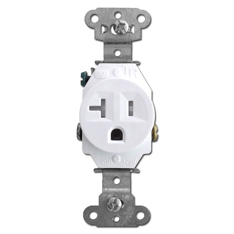 Tamper Resistant White Round 20A Single Power Receptacles